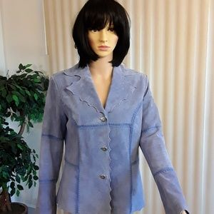 Pamela McCoy Blue Leather Blazer
